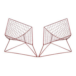 Red Metal Armchairs by Pierre Paulin