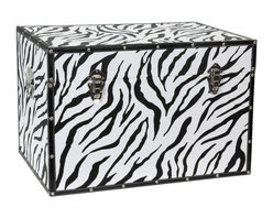 Oriental Furniture - Faux Leather Zebra Trunk - Whether you want to suggest the beauty of the African savannah, or are just looking for a fun addition to your personal decor, this zebra print trunk is sure to wow! Featuring high-contrast black and white zebra patterning on canvas, this trunk truly pops. The faux leather edges perfectly match the stripes, while providing added protection and durability. You'll love the fact that this sturdy chest is also surprisingly lightweight, and two handles make it easy to pick up and move when you redecorate. A convenient interior arm holds the lid when you need the trunk open, and a pair of external closures keep it shut tight when you don't. The spacious interior is lined with soft fabric, making it ideal for protecting your belongings. With so many great features at such a great value, this trunk is perfect for bringing out the wild side in your interior decor!