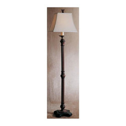 Uttermost - Carolyn Kinder Nathan Floor Lamp - Designer: Carolyn Kinder. Assembly instructions. 15 in. W x 15 in. D x 66 in. HThis floor lamp is finished in a distressed mahogany wood tone with burnished black edges and cast aluminum accents. The square bell shade is a French ivory linen textile.