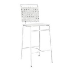 "LexMod - Fuse Bar Stool in White - Fuse Bar Stool in White - Take charge and speak up with a modern bar stool with just the right amount of panache. Fuse features a compact back of durable PVC webbing, foam cushion and chrome plated tube base, to deliver an integrated design that doesnt work too hard to be something its not. Perfect for bar or lounge areas in need of a conversation-friendly seating arrangement. Set Includes: One - Fuse Bar Stool Modern bar stool, Chrome plated metal tubing, PVC back webbing, Foam cushion with PVC cover, Foot caps to prevent scratching Overall Product Dimensions: 19""L x 18""W x 42.5""H Seat Dimensions: 15.5""L x 16""W x 28.5""HBACKrest Height: 15""H - Mid Century Modern Furniture."