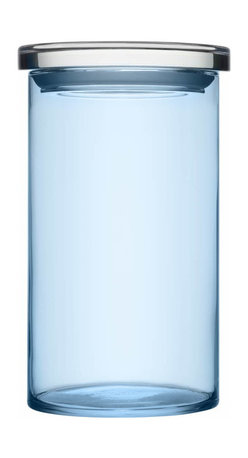 """Iittala - Glass Jars 4.5"""" x 8"""", Light Blue - Pretty, practical and proof that order can be beautiful. Put this tall glass jar to work in the kitchen, filled with your baking essentials. Or use it in the bathroom to display and store your beauty essentials."""