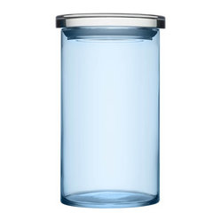 "Glass Jars 4.5"" x 8"" Light Blue"