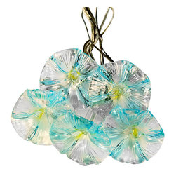 Pier Surplus - Blue Flowers Solar LED String Lights for Yard or Patio #SO10136 - These are a lovely way to add light to your patio or garden at night! Hang them above to cast a subtle, romantic glow. Thanks to high-quality materials, they are durable, and will last you for years to come. These make a lovely decoration for a wedding reception, as the LED panels can be inconspicuously hidden from sight. Use them as a Mother's Day present or housewarming gift for gardeners.