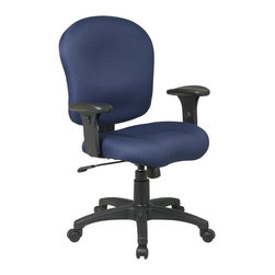 Office Star - Task Office Chair with Adjustable Soft Padded - Fabric: Midnight Blue in Festival PatternKeenly adaptable, this office task chair swivels a complete 360 degrees to keep you mobile at your workstation and has adjustable controls for the tilt, tilt tension, and seat height of the chair.  Upholstered in your choice of several fabric colors. * Pneumatic Seat Height (1). 360° Swivel (4). Tilt (5). Tilt Tension (8). Tilt Lock (9). 40 in. H x 28 in. W x 23.5 in. D