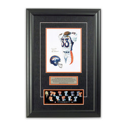 """Heritage Sports Art - Original art of the NFL 1998 Denver Broncos uniform - This beautifully framed piece features an original piece of watercolor artwork glass-framed in an attractive two inch wide black resin frame with a double mat. The outer dimensions of the framed piece are approximately 17"""" wide x 24.5"""" high, although the exact size will vary according to the size of the original piece of art. At the core of the framed piece is the actual piece of original artwork as painted by the artist on textured 100% rag, water-marked watercolor paper. In many cases the original artwork has handwritten notes in pencil from the artist. Simply put, this is beautiful, one-of-a-kind artwork. The outer mat is a rich textured black acid-free mat with a decorative inset white v-groove, while the inner mat is a complimentary colored acid-free mat reflecting one of the team's primary colors. The image of this framed piece shows the mat color that we use (Orange). Beneath the artwork is a silver plate with black text describing the original artwork. The text for this piece will read: This original, one-of-a-kind watercolor painting of the 1998 Denver Broncos uniform is the original artwork that was used in the creation of this Denver Broncos uniform evolution print and tens of thousands of other Denver Broncos products that have been sold across North America. This original piece of art was painted by artist Nola McConnan for Maple Leaf Productions Ltd.  1998 was a Super Bowl winning season for the Denver Broncos. Beneath the silver plate is a 3"""" x 9"""" reproduction of a well known, best-selling print that celebrates the history of the team. The print beautifully illustrates the chronological evolution of the team's uniform and shows you how the original art was used in the creation of this print. If you look closely, you will see that the print features the actual artwork being offered for sale. The piece is framed with an extremely high quality framing glass. We have used this gla"""