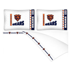 Sports Coverage - NFL Chicago Bears Football Queen Bed Sheet Set - Features: