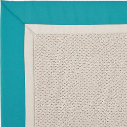 Frontgate - Outdoor Parkdale Rug in Sunbrella Blue/Off-White White Wicker - 5' x 8' - Wicker-textured base is woven in soft and durable olefin. Choose from two base colors on White Wicker borders. Cleans with soap and water. Sunbrella® fabric is resistant to fading, staining, and mildew. Rug pad recommended (sold separately). Our Parkdale Rug with colorful borders match the premium all-weather fabrics featured on our replacement cushions, pillows, draperies and umbrellas. This all-weather rug will work just as beautifully indoors as it does outside.  .  .  . Sunbrella fabric is resistant to fading, staining, and mildew .  . Made in the USA.