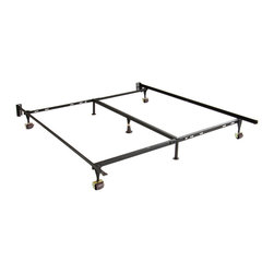 None - Adjustable Twin/ Full/ Queen Steel Bed Frame with Casters - Durable steel construction highlights this bed frame,adjustable for twin,full and queen-size mattresses. This frame features five legs with casters.