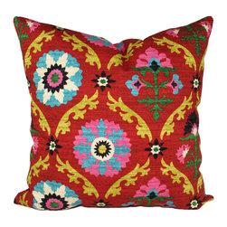 Land of Pillows - Waverly Mayan Medallion Throw Pillow, Desert Flower - Fabric Designer - Waverly