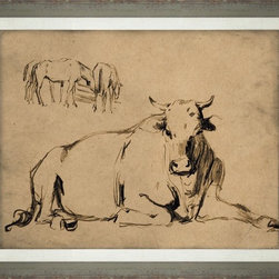 Wendover Art - Barnyard Study Cow - This striking Giclee on Paper print adds subtle style to any space. A beautifully framed piece of art has a huge impact on a room for relatively low cost! Many designers and home owners select art first and plan decor around it or you can add artwork to your space as a finishing touch. This spectacular print really draws your eye and can create a focal point over a piece of furniture or above a mantel. In a large room or on a large wall, combine multiple works of art to in the same style or color range to create a cohesive and stylish space!