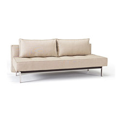 """Innovation USA - Innovation USA Sly Deluxe Sofa - Chrome Legs - Basic Light Grey - 55"""" x 79"""" - Perfect seating and sleeping comfort embodied in an elegant design that allows it to be free standing in the middle of a room. The deluxe styling adds a classic, modernistic character to the sofa."""