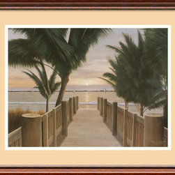 "Amanti Art - ""Palm Promenade"" Framed Print by Diane Romanello - Step into a blissful, beachy scene with this awe-inspiring palm tree print. Using perspective to make the viewer feel like part of the piece, artist Diane Romanello captures the palpable feeling of being on the coast near sunset. Maintain a summertime feeling all year long by displaying this framed piece in your living room or entry."