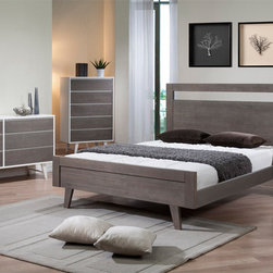 None - Madrid Light Charcoal Queen-size Bed - This queen-sized bed features a bright butter white finish on the sides that contrasts beautifully with a light charcoal grey headboard and footboard. Composed of durable rubberwood and veneers,the construction has a sturdy horizontal wood design.