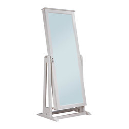 Homelegance - Homelegance Reflection Cheval Mirror with Jewelry Storage in White - The reflection collection is a functional and stylish accent to your bedroom decor. If dressing for work or a night out on the town, the full-length, adjustable tilt mirror not only reflects, it provides discrete storage for your favorite jewelry pieces. With a pull of a knob, the mirror opens to reveal necklace hooks, vertical plush ring display, earring racks and tray storage. Featured in two finishes _ espresso and white _ the collection is a perfect fit in your home.