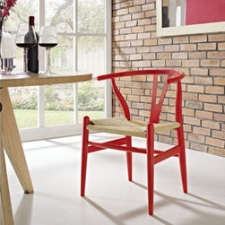 Wegner Wishbone Style Chair - CH24 Y-Chair in Red - Designed in 1949 by Denmark's foremost furniture designer Hans Wegner, the original Wishbone Chair was inspired by classical portraits of Danish merchants sitting on Chinese Ming chairs and is considered one of his most distinguished designs from his prolific portfolio of more than 500 pieces.