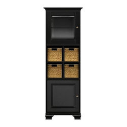 Howard Miller Custom - Lily Cabinet w 2 Shelves in Antique Black - This cabinet is finished in Antique Black on select Hardwoods and Veneers, with Antique Brass hardware. 1 door with beveled Glass and 1 beveled panel door. 1 cross storage shelf and 4 small woven baskets. 2 adjustable interior shelves. Cove profile top and Ogee profile base. Hardware: knobs on doors. Features soft-close doors and metal shelf clips. 27 1/4 in. W x 17 in. D x 78 1/2 in. H