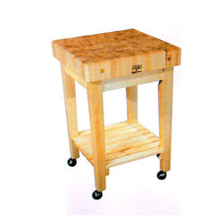 John Boos - Gourmet Style Block Top Kitchen Cart - There are plenty of uses for this solid wood kitchen cutting table and rolling cart.  The wood top will provide excellent service for a long time, and the wheels will enable it to be easily moved around the kitchen as desired.  It features a handy lower shelf for convenient storage also. * Solid Hard MapleStands 36 High. Options: Locking Casters. 24x24x4 w/shelf. Pictured with 4 casters
