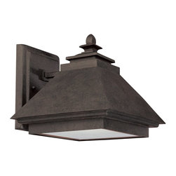 """Capital Lighting - Capital Lighting 10"""" Rustic Iron Outdoor Dark Sky / Energy Saver Wall Lantern X- - Clean lines give a subtle modern appeal to this stylish Capital Lighting outdoor wall sconce. This energy saving wall lantern comes in a dark but elegant Rustic Iron finish that has been paired with a stylish acid washed glass lens. For added appeal, this light fixture is also Dark Sky compliant."""