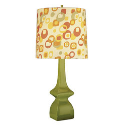 Robert Abbey - Jayne Table Lamp Pumpkin/Artichoke - This mod table lamp adds an instant pop of personality to your space, whether beside your bed or your favorite chair. The glazed ceramic base is topped with a patterned drum shade that gets an A+ in geometry.