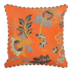 Villa Home - Nature's Bliss Prato Pillow - Vibrating with explosive color and enhanced with a bold floral print, this pillow will tantalize the senses.  Each all natural pillow includes a feather down insert.