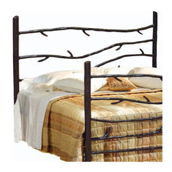 Mathews & Company - Woodland Wrought Iron Headboard, King - Make your bedroom or guest bedroom feel warm and welcoming with our Woodland Wrought Iron Headboard. It comes in both King and Queen sizes and is the perfect addition to a rustic cabin or home. Hand-crafted wrought iron branches extend horizontally between the iron branch corner posts of the headboard. Pictured in Black finish.
