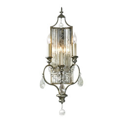 "Murray Feiss - Traditional Feiss Gianna Collection 27 1/4"" High Wall Sconce - The Gianna Collection is hand-finished with real silver leaf. This piece positively shimmers with hand-polished crystal accents. This wall sconce features a gilded silver finish. A rich antique-inspired look from Murray Feiss. Gilded silver finish. Crystal accents. Silver leaf. Takes three 60 watt candelabra bulbs (not included). 27 1/4"" high. 10 1/2"" wide. Extends 4 1/2"" from the wall.  A Feiss wall sconce design.  Gilded silver finish.  Crystal accents.  Silver leaf.  Takes three 60 watt candelabra bulbs (not included).  27 1/4"" high.  10 1/2"" wide.  Extends 4 1/2"" from the wall."