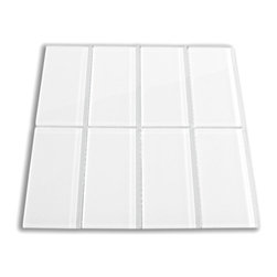 "CNK Tile - White Glass Subway Tile, Sample - The white subway tile is made from the strongest stain-resistant crystal clear glass. These tiles have a 8mm thickness that increases their durability and the depth of their color making them truly beautiful subway tiles. These subway tiles can be used for commercial or residential construction in either a wet or dry environment. These subway tiles are sold by the square foot comprised of 8 individual tiles. The individual tiles measure 3""x6"". This product comes on a mesh backing for easy installation."