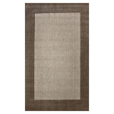nuLOOM - nuLOOM Hand Loomed Woven Solid Border Rug, Neutral, (7.6' X 9.6') - Material: 100% Wool