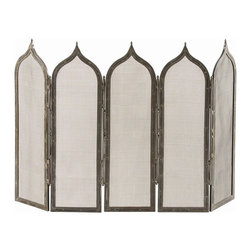 Arteriors - Georgie Screen - Five Gothic inspired metal mesh panels hinge together to create an undulating screen. The natural iron finish emphasizes the antique look. Dimensions are per panel.