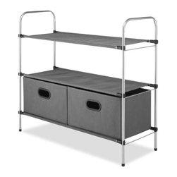 Whitmor - 3 Tier Shelves With 2 Drawers - This great little closet organizer has it all and is perfect for smaller spaces and stylish enough to sit outside the closet. Whatever your needs are Whitmor's 6779-4464 3 Tier Shelf unit with Collapsible Drawers is sure to meet your needs. It features a sturdy epoxy coated metal frame with 3 strong fabric shelves and 2 collapsible fabric storage drawers. The drawers feature an identification plate in front. The soft breathable fabric used as shelves and drawers keeps stored items fresh and will not snag or tear clothing. Easy to assemble requiring no tools.  This item cannot be shipped to APO/FPO addresses. Please accept our apologies.
