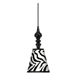 "Giclee Gallery - Classic Zebra 7 1/2"" Wide Black Mini Pendant - A trendy Classic Zebra giclee print lends novelty to this black mini pendant light. This mini pendant design is a balance of curves and geometric simplicity. It features a metal shade wrapped with an exclusive giclee printed pattern. The interior of the shade is painted white helping to reflect the light. A black finish round metal canopy completes the look. Includes a black 15 foot cord allowing you to adjust the hang height. U.S. Patent # 7,347,593."