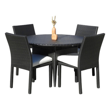 MangoHome - Outdoor Patio Wicker Furniture New Resin 5-Piece Round Dining Table & Chair Set - Outdoor Patio Wicker Furniture New Resin 5-Piece Round Dining Table & Chair Set