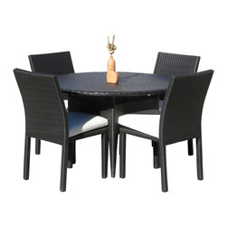 MangoHome - Outdoor Wicker New Resin 5 Piece Round Dining Table and Chair Set - This amazing outdoor dining set comes in 2 different pieces. It is very functional, stylish and designed to meet your needs! Look at our pictures to view all of the possibilities! Each wicker set is hand crafted by trained professionals with premium quality materials assuring your set will last many years!
