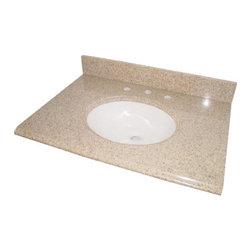 """Pegasus - Pegasus Beige Granite Vanity Top 31 x 22, Biscuit Bowl (PE68231) - Pegasus PE68231 Beige Granite Vanity Top 31"""" x 22"""", Biscuit Bowl"""