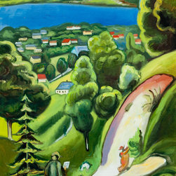 "overstockArt.com - Macke - Landscape on the Teggernsee with a Reading man - 20"" X 24"" Oil Painting On Canvas Macke dazzles with rich jewel-like color of sapphires and emeralds while depicting a quiet scene of a man reading. Landscape on the Teggernsee with a Reading man ia a clear hybridization of geometrical shapes showing strong Cubism influence creating an overall stunning portrait of painterly style. This 1910 masterpiece will stun and captivate everyone in the room. August Macke (1887 - 1914) was one of the leading members of the German Expressionist group Der Blaue Reiter (The Blue Rider). His style was formed within the mode of French Impressionism and Post-Impressionism and later went through a Fauve period. Macke preferred harmonious scenes with ordinary subjects in everyday situations; he found the beauty in the banality of ordinary experiences. Macke concentrated on color and style to create depth and feeling. His highly developed style integrates Cubism and explores color variations to define the spatial relationship between hues. His overall life's work is a collection of stunning color and quiet scenes; the development of his peerless style is said to be the precursor to modern art."