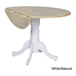 None - Round 42-inch Drop-leaf Table - This classic wood drop lead round table would turn your dining experience into a classy and traditional affair. Featuring a durable solid wood construction and an elegant base, this stylish table is available in multiple color options.