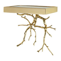 Global Views - Twig Wall Bracket - Brass - The twig wall bracket is solid sand cast brass or nickel plated brass that is painstakingly hand polished.  It hangs on a solid brass or nickel plated brass cleat.  The glass shelf of the bracket is the perfect place to showcase any treasure.