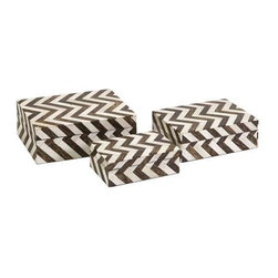 Zig Zag Bone Inlay Boxes - Set of 3 - A set of three small decorative boxes made with bone inlay make the perfect desk, shelf or vanity accessory. White bone inlay with brown chevron pattern gives these boxes a simple decorative appeal. For a coordinated look, display with the Zig Zag bone inlay photo frames.