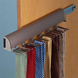 Hafele - Synergy Elite Tie Rack w Slide in Matte Nicke - Warranty: One year. Made from aluminum and zinc. Made in Canada. 11.88 in. W