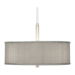 "Contemporary Gray Textured Silk 16"" Wide Pendant Chandelier"