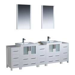 """Fresca - 84"""" White Double Sink Vanity w/ 3 Side Cabinets & Cascata Brushed Nickel Faucet - Fresca is pleased to usher in a new age of customization with the introduction of its Torino line.  The frosted glass panels of the doors balance out the sleek and modern lines of Torino, making it fit perfectly in eithertown or country decor."""