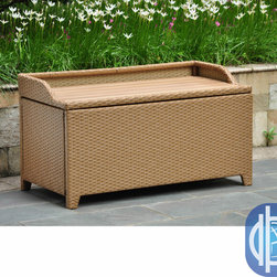 International Caravan - International Caravan Barcelona Resin Wicker/Aluminum Outdoor Storage Bench - Sit comfortably on this lovely wicker bench. A large interior space allows you to store your belongings.