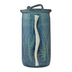 Xavier Blue Paper Towel Holder - Carved Leaves -