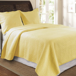 None - Vashon 3-Piece Quilt Set-Yellow - Wake up to a light and fresh look each morning with this yellow quilt and sham set from Vashon. The three-piece cotton set complements both light and dark bed sets,and the quilt is oversized for a better fit on pillow-top and deep mattresses.