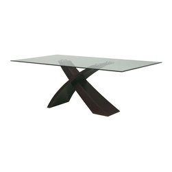 Global Furniture - Glass Top Dining Table w Wenge Finish Criss-C - Glass top. Contemporary style. Constructed with MDF. Leg 1: 52 in. L x 7 in. W x 22 in. H (54 lbs.). Leg 2: 34 in. L x 10 in. W x 17 in. H (32 lbs.). Tempered Top glass: 82.6772 in. L X 43.3071 in. W x 0.125 in. H (165 lbs.)