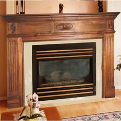Old Hickory Fireplace Mantel - The Old Hickory solid wood mantel with fluted side panels and hand carved sunburst detailing adds a sense of quiet dignity to any fireplace. Unfinished so you can make it as rustic or contemporary as you want.