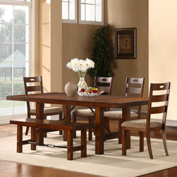 Homelegance - Homelegance Clayton 6-Piece Dining Table Set - Rustic Oak Multicolor - 2515-96[6 - Shop for Dining Tables from Hayneedle.com! Classic farmhouse style goes industrial in this Homelegance Clayton 6-Piece Dining Table Set - Rustic Oak. This handsome set includes a dining table with two extension leaves four side chairs and a bench fit for two. All pieces are constructed of pine wood and drenched in a rustic oak finish. The table and bench feature industrial chic metal stretchers. The chairs are highlighted by wide spaced slat backs with built-in handles. Cushioned seats are upholstered in beige fabric for a comfortable seat.Dimensions:Table: 96L x 42W x 30H in.Side chairs: 18.75W x 22.5D x 40H in.Bench: 54W x 15D x 18H in.About Homelegance Inc.Homelegance takes pride in offering only the highest quality home furnishings that incorporate innovative design at the best value. From dining sets to mirrors sofas and accessories Homelegance strives to provide customers with a wide breadth and depth of selection as well as the most complete and satisfying service available for their category. Homelegance distribution centers are conveniently located throughout the United States and Canada.
