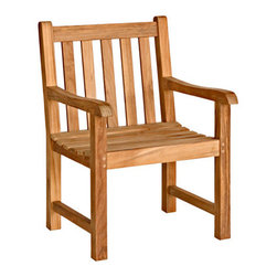 Bambeco Teak Classic Armchair - Add casual and cool eco flair to your patio with the sustainable Teak Classic Armchair. The wood used in these pieces is sourced from sustainably harvested and carefully managed teak forests. Refined, casual and contemporary, these pieces feature meticulous attention to detail and will stand the test of time. Assembly required.Dimensions: 24W x 36H x 25.5D x 17 seat height x 25 arm height
