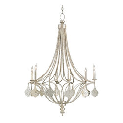Currey & Company - Currey & Company Lavinia Chandelier CC-9343 - Simple and feminine, the Lavinia Chandelier evokes charm and elegance with a stunning Grecian Silver Leaf finish and glimmering mirror facets. Stylish simplicity is the appeal of this chandelier.