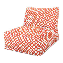 Majestic Home - Outdoor Burnt Orange Bamboo Bean Bag Chair Lounger - If you're searching for a laid-back lounger with a lively print, you've found it. This update on the beanbag works in your favorite setting, indoors or out — the fabric's been treated with UV protection to keep its good looks no matter the weather.